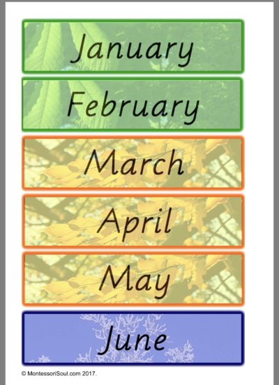 Month Name cards - Southern Hemisphere