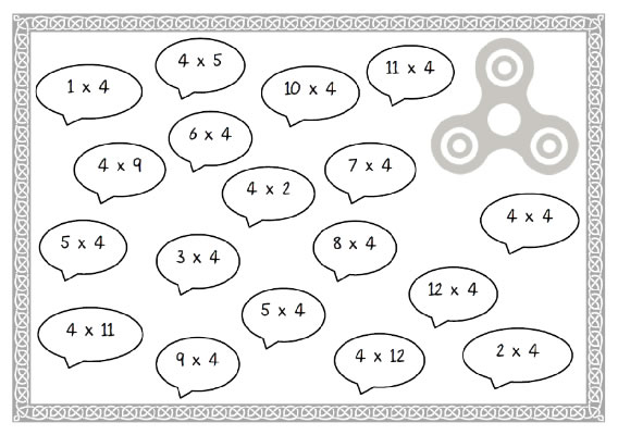 4 Times Table fidget spinner challenge