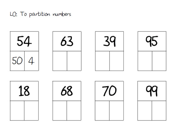 Partitioning practise sheets 10