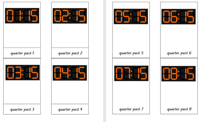 Digital Clocks (Quarter past)
