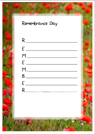 Remembrance day Acrostic poem templates