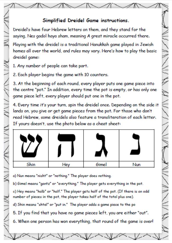 Dreidel Game instructions
