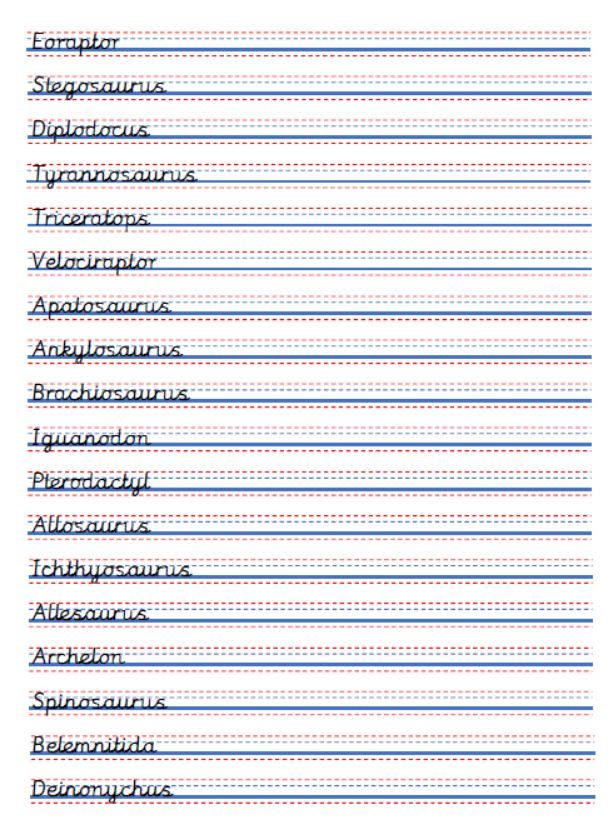 Handwriting practice sheets - dinosaur names