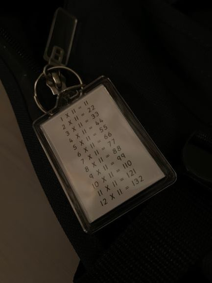 Times Tables and Division keyrings