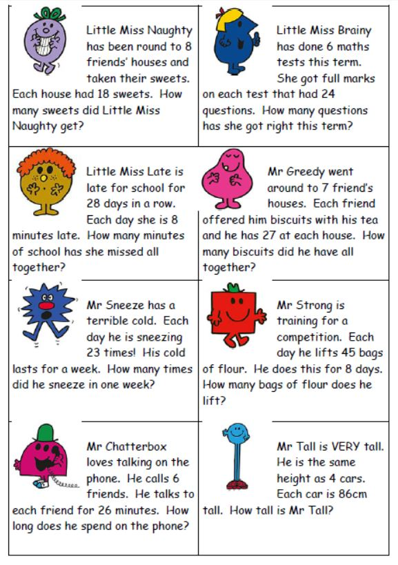 Mr Men timetables word problems