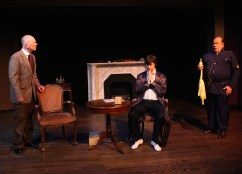 Constable Peterson tells the tale of the goose - Dr Watson (Paul Noga), Sherlock Holmes, and Constable Peterson (David Jones)