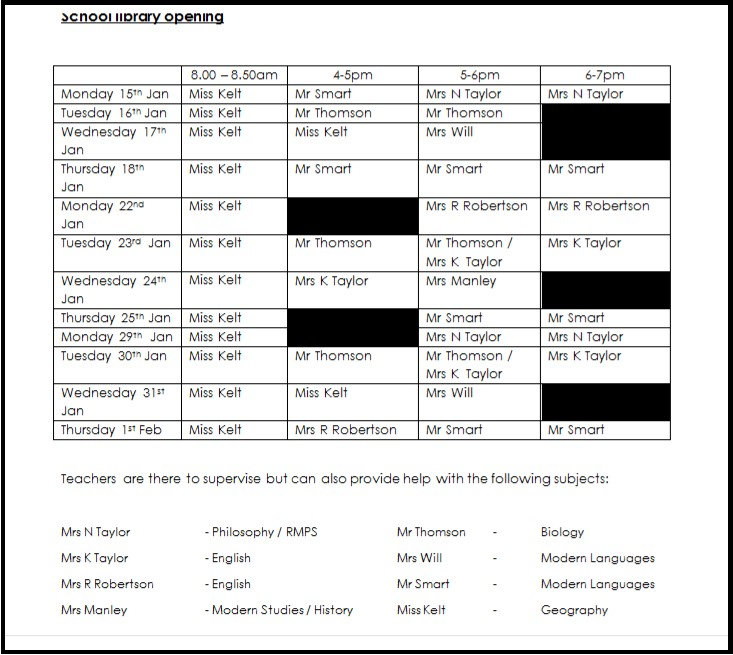 Prelim Supported Study Timetable Update Montrose Academy