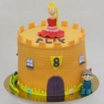 riddertaart toren met prinses 3D oranje blauw sprookje
