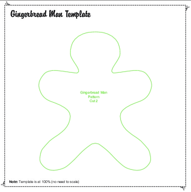 Make your own felt gingerbread man Christmas tree decoration - gingerbread man template