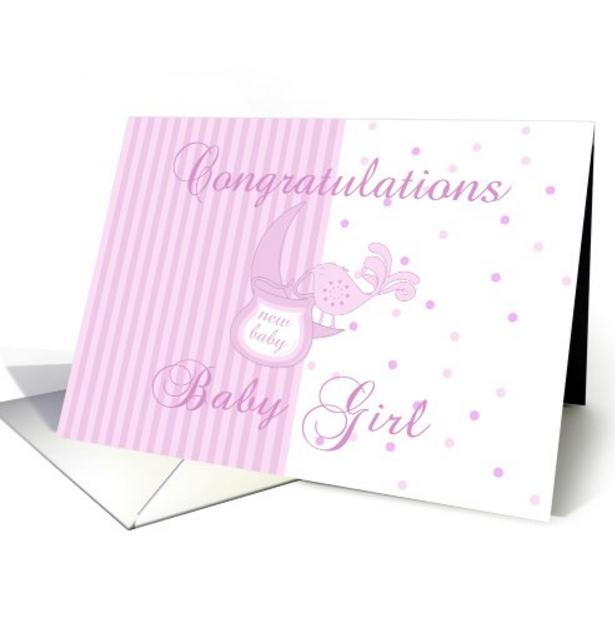 New Baby Congratulations - New Baby Girl Card, little bird holding a