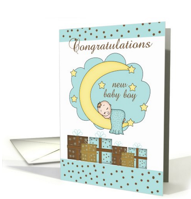 Congratulations New Baby Boy Card With Sleeping Baby, greeting card