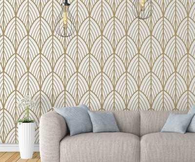 Art Deco Leaves Removable Wallpaper - Moonwallstickers.com