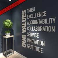 Office Decor Values 3D Text