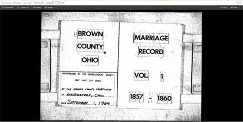 Brown County, Ohio Marriage Records, vol 1, 1857-1860