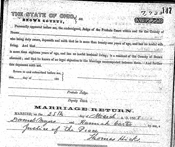 "Probate Court, Brown County, Ohio, ""Marriage Records, 1818-1939"", 1857-1860, vol. 1, p. 147, no. 7723, for Daniel Moyer-Hannah Carter;"