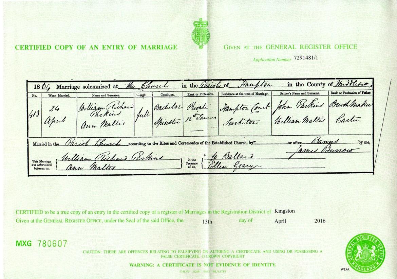 William R Parkin, Ann Maltis marriage