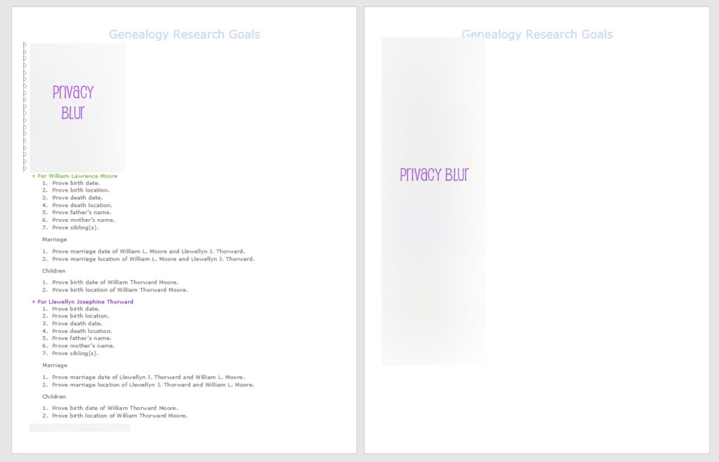 genealogy workbook