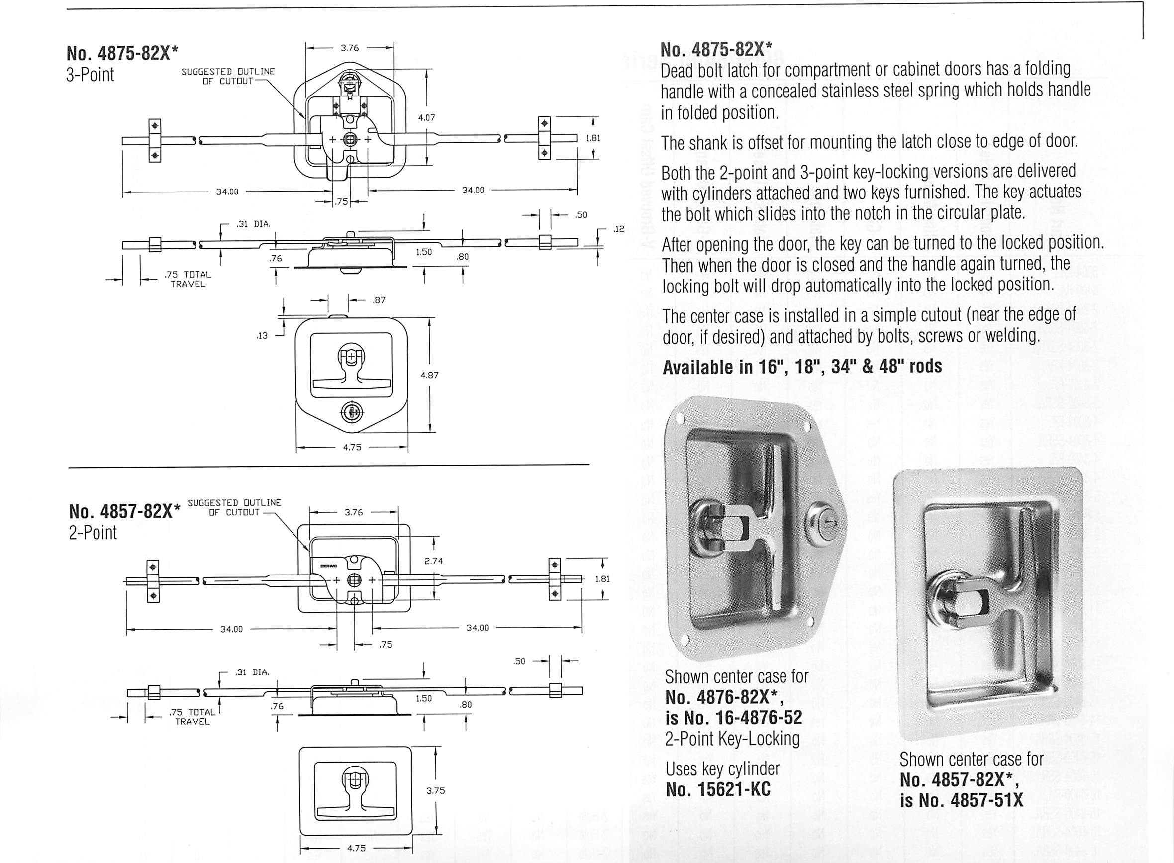 Multi Point Folding T Handles Locks Kits Flush Mounted