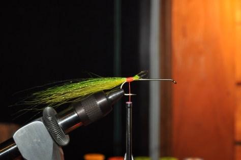 Step 1D - Tie in Green Bucktail.