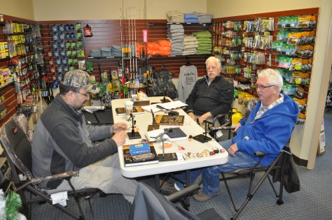 The shop crew at one of the winter Fly Tying 101 courses.