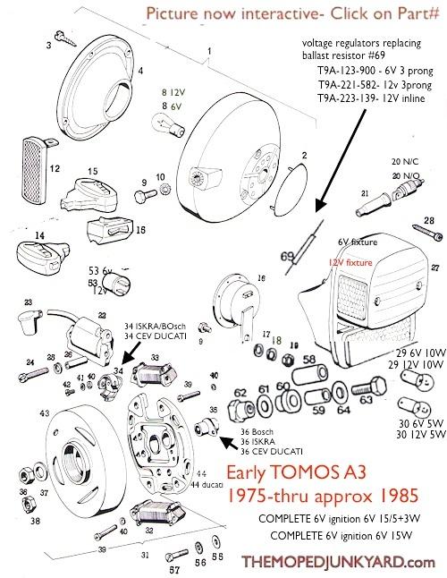 tomos a3 electrical parts diagram ref t9a