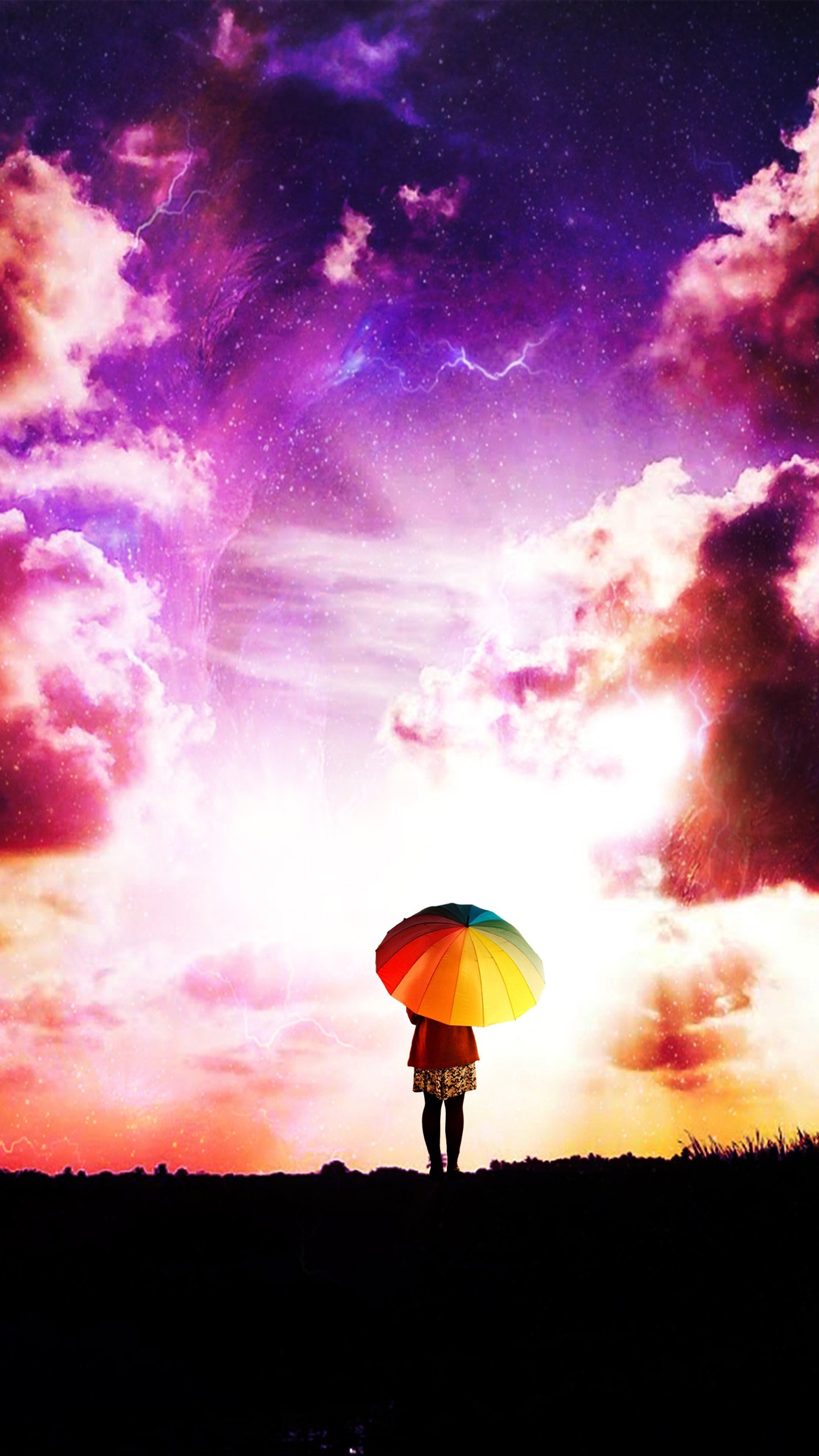 Love Quotes Wallpapers For Android Phones Download Lone Girl Colorful Umbrella Sunset Clouds Free