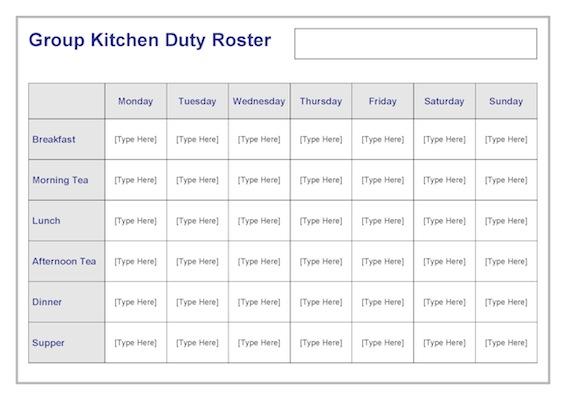 Group Kitchen Duty Roster Template Teacher Timesavers Templates