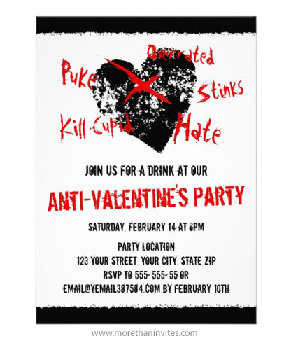 Anti-Valentine\u0027s day party invitation with black, distressed heart - 's day party invitation