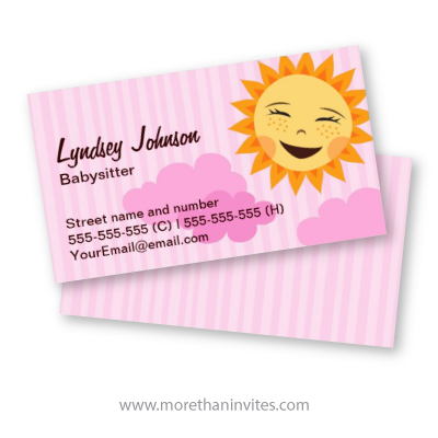 Pink babysitting business card with cute cartoon sun - More than invites