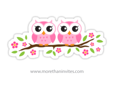 Cute Twin Baby Boy And Girl Wallpapers Pink Twin Owls Sitting On A Branch With Leaves And Flowers