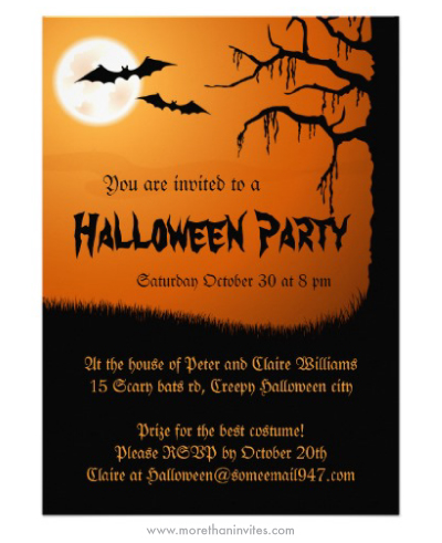 Spooky Halloween party invitation with full moon, bats and creepy - invitation for halloween party