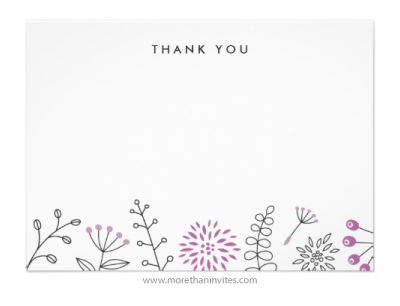 Modern Nature Doodle Thank You Note Card Purple More