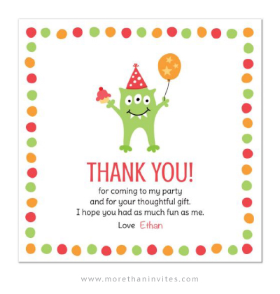Monster birthday party thank you card with green monster holding a