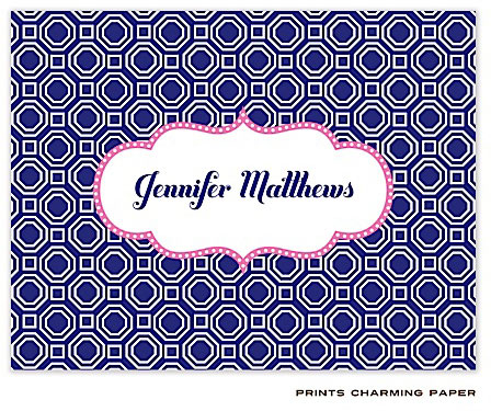 Prints Charming Note Cards/Stationery - Blue Geometric (Folded