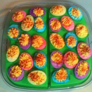 Neon deviled eggs