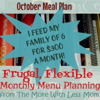 October 2013 Meal Plan - Frugal, Flexible Monthly Menu Planning & Price List Download