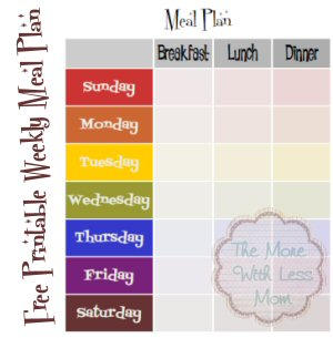 Free Weekly Meal Plan Printable Template