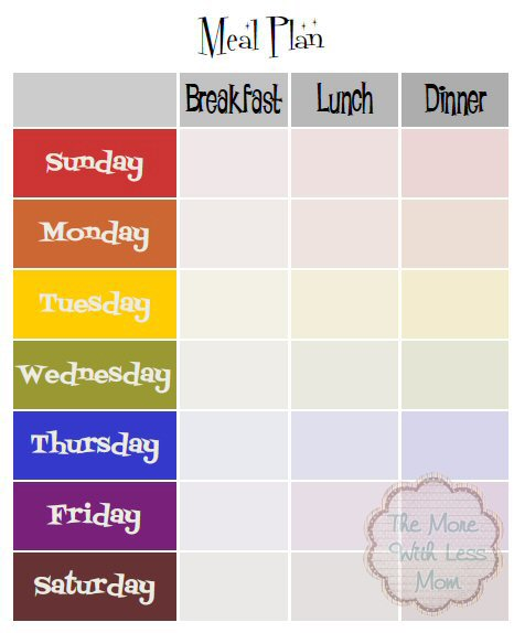 Weekly Meal Plan Breakfast Lunch Dinner