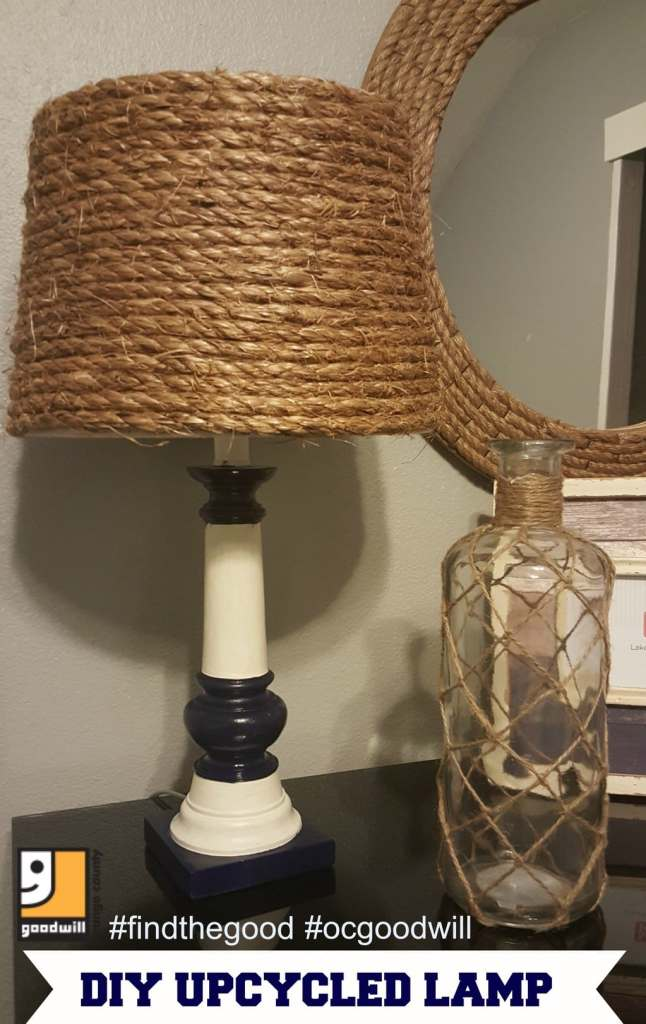 Nautical Lamp Final DIY an old lamp using rope, repurpose an old thrift store lamp with rope for a nautical theme, Goodwill decor, old lamps like new, DIY decor thrift store