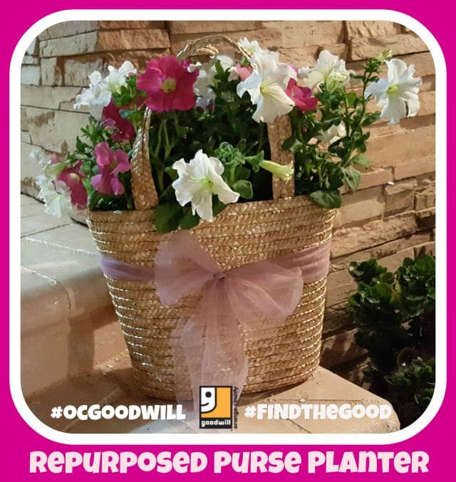 make a repurposed purse planter, use an old purse to make a planter, DIY planter from a straw purse, Goodwill DIY, DIY gifts, inexpensive gifts to make
