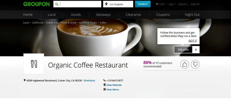 What are Groupon pages? finding a restaurant near me Groupon, Groupon gift, restaurant ratings with Groupon, request a Groupon offer, using Groupon reviews