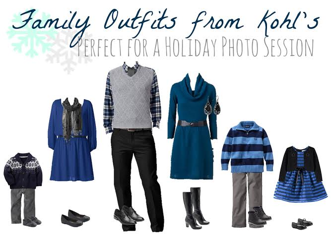 matching family outfits, outfits for family Christmas photos, Kohl's outfits for the family, find matching outfits for for holiday portraits