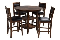 Gia Light Brown Counter-Height Table with 4 Stools   Mor ...