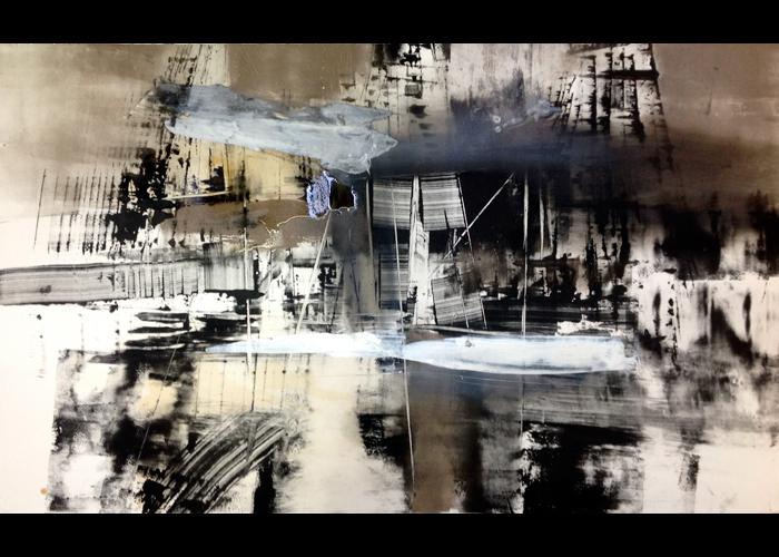 'Shipyards', monoprint, 50 x 80 cm, £1,200