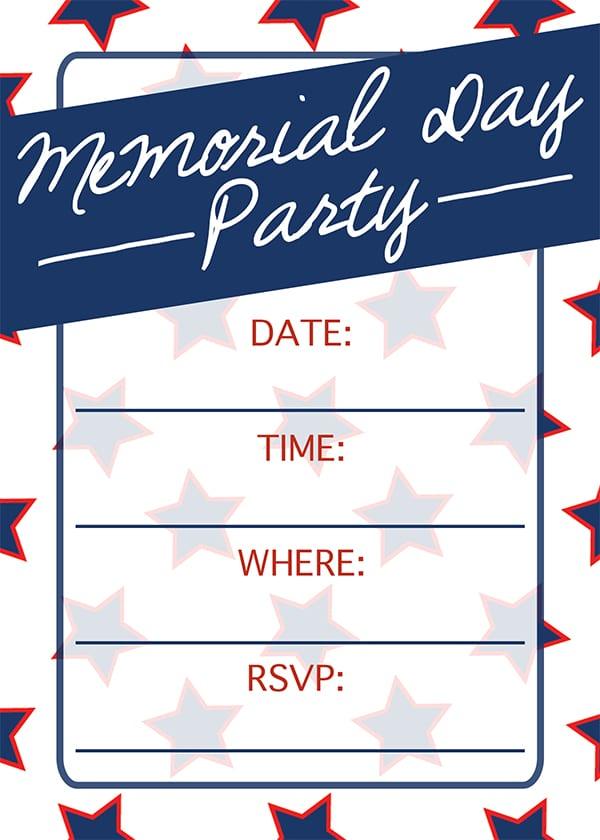 Memorial Day Invitation Free Customizable Printable Invitation