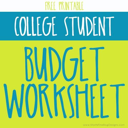 College Student Budgeting Worksheet Free Printable