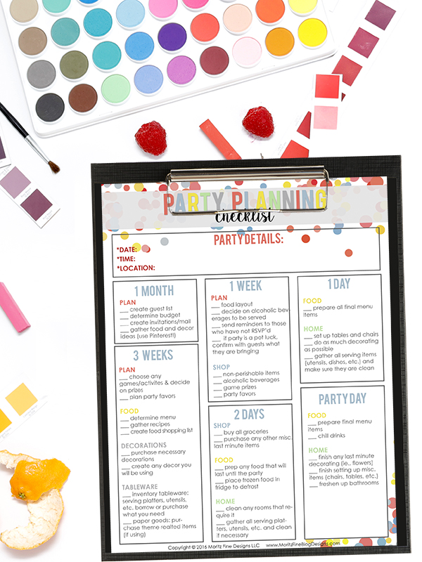 Easy Party Planning Checklist Free Printable Included - party planning