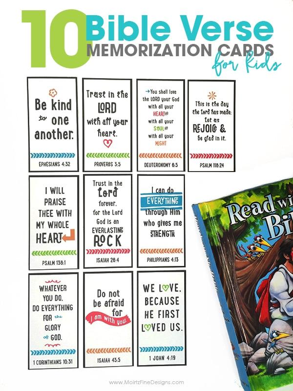 10 Bible Verse Memorization Cards for Kids Free Printable