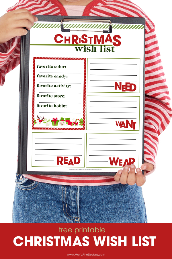 Christmas Wish List Printable Free Printable Included
