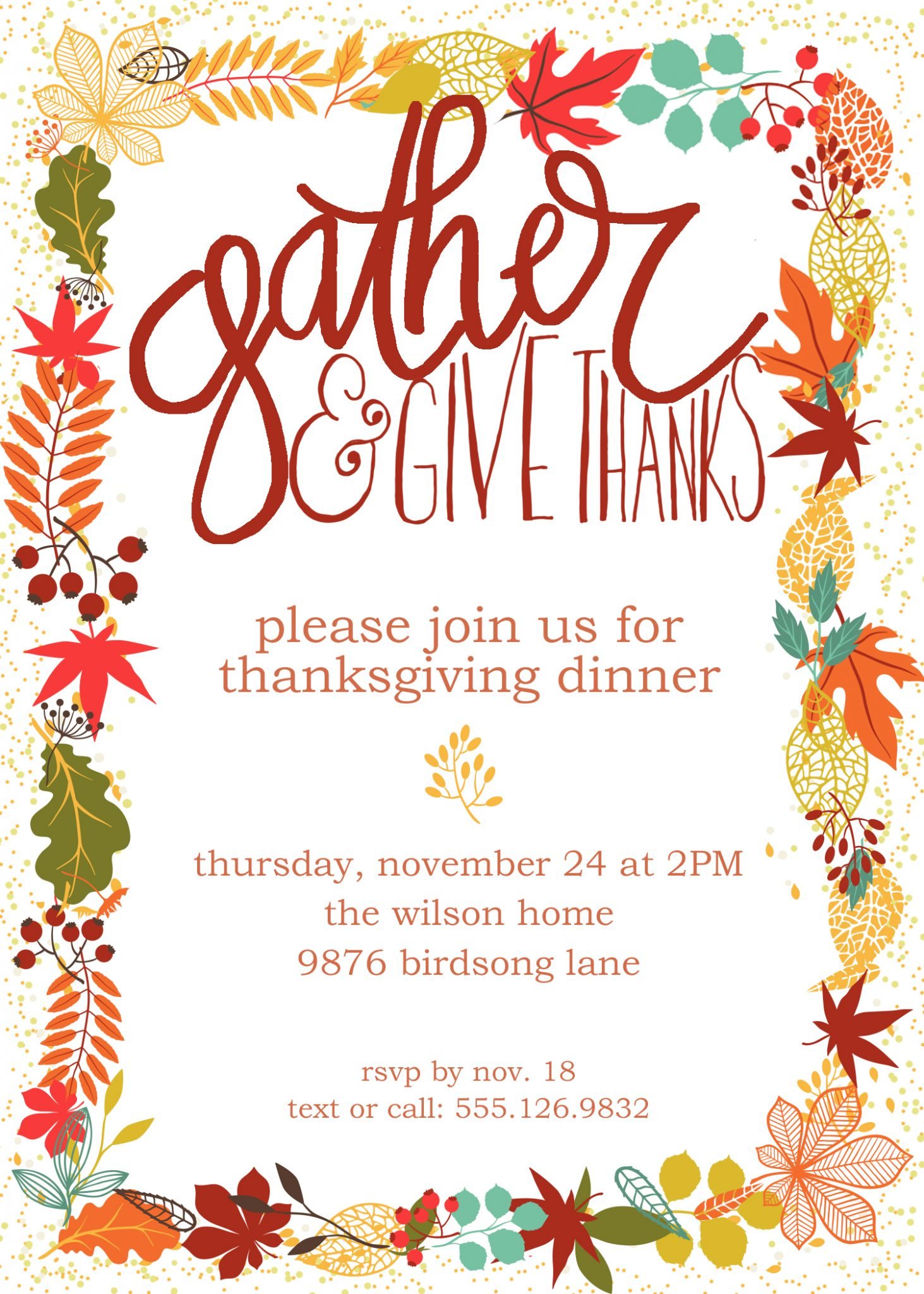 invitations for thanksgiving
